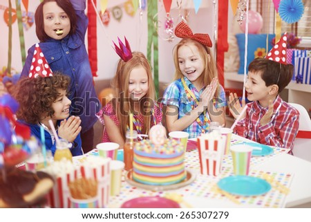 Time to celebrate of ninth birthday - stock photo