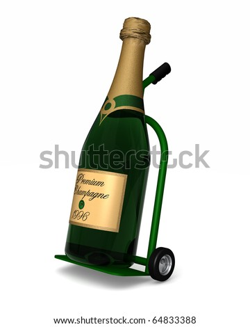 Time to celebrate with a huge bottle of chamagne delivered by dolly - stock photo