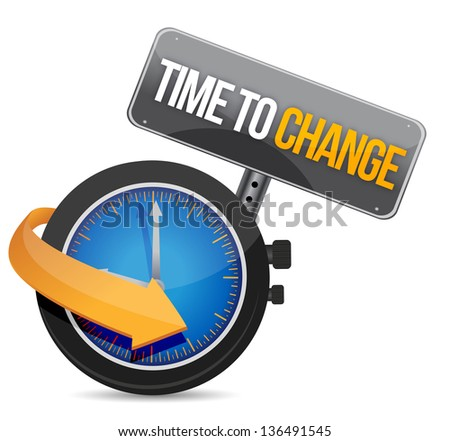 Time to change concept illustration design over white - stock photo