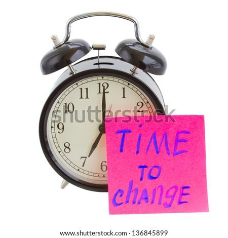 time to change sticker on alarm clock - stock photo