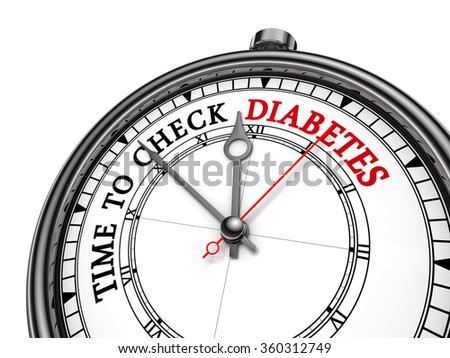 Time to check diabetes concept clock, isolated on white background - stock photo