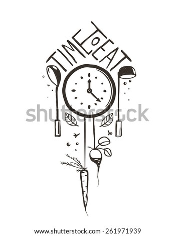 Time to Eat Sign and Label One Color Design on White. One color print illustration for kitchen event.  Raster variant. - stock photo