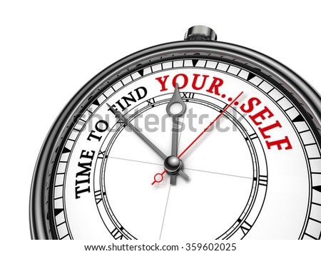 Time to find yourself motivation quote on concept clock, isolated on white background