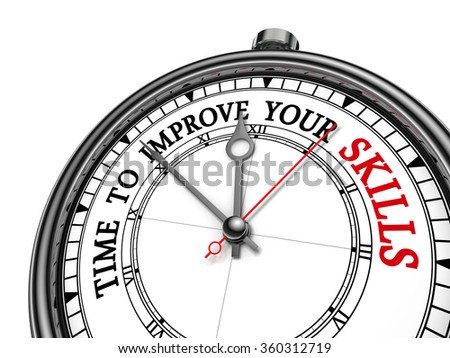 Time to improve your skills motivation message on concept clock, isolated on white background - stock photo