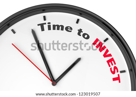 Time to Invest concept. Modern clock with sign on a white background