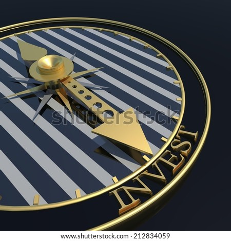 time to invest - golden clock and black background - stock photo