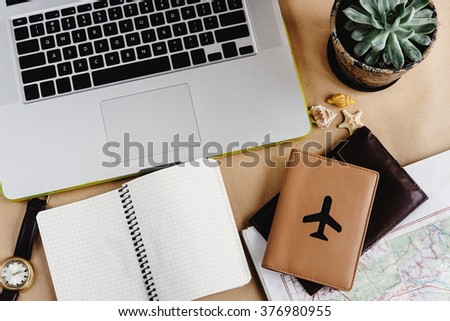 time to plan travel concept, stylish notebook map and passport on craft background - stock photo