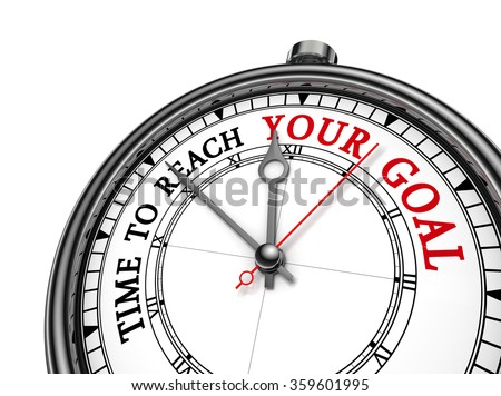 Time to reach your goal red motivation on concept clock, isolated on white background