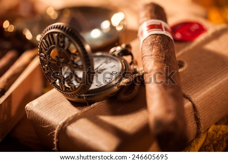 Time to relax! Couple boxes of fine cigars - a great gift from an old friend - stock photo