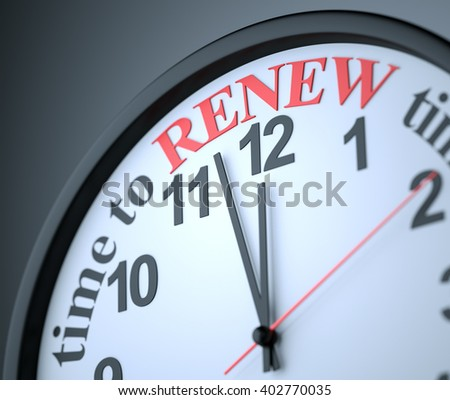 Time to Renew , 3d render - stock photo