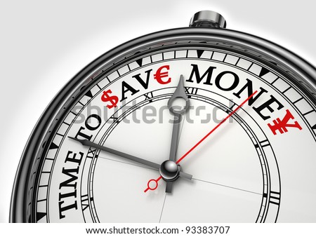 time to save money concept clock closeup on white background with red and black words - stock photo
