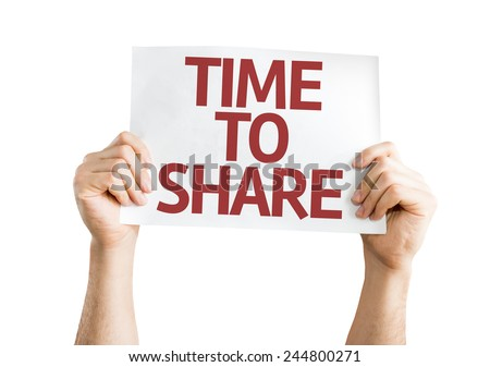 Time to Share card isolated on white background - stock photo