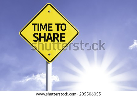 Time to Share road sign with sun background - stock photo