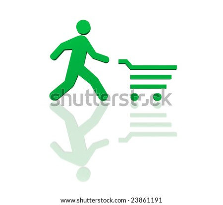 Time to shopping concept. Isolated on white - stock photo