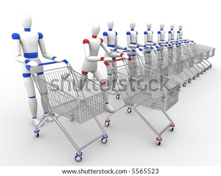 Time to shopping. Different shopper - stock photo