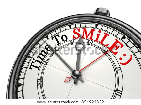 Time to smile red word on concept clock, isolated on white background