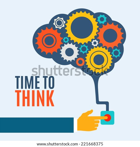 Time to think, creative brain idea concept, background. Flat design. Perfect for poster, flyer, presentation or brochure - stock photo