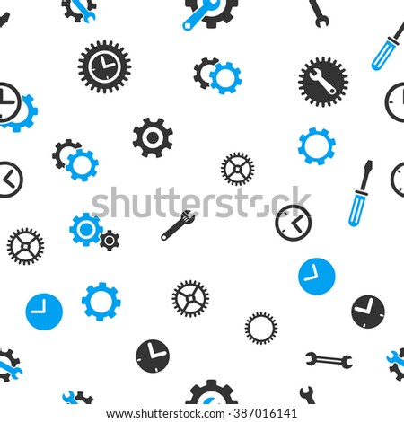 Time Tools Seamless raster repeatable pattern. Style is flat light blue and gray symbols on a white background. - stock photo