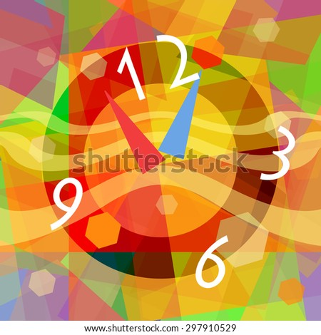 Time travel, abstract background with bright surreal clock - stock photo