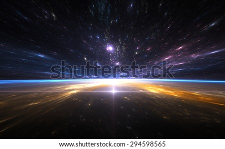 Time warp, traveling in space. All art elements made by me - stock photo