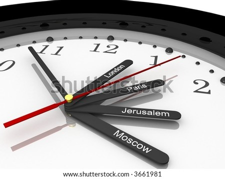 Time zone clock for Europe, 3D - stock photo