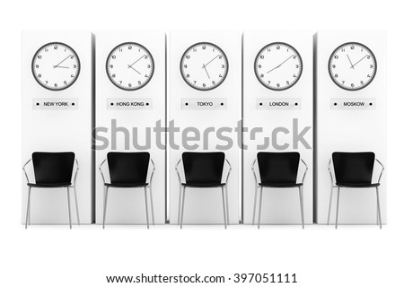 Time Zone Clocks showing different time in front of Columns - stock photo