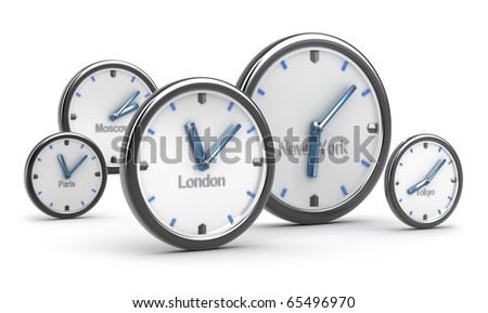 Time zones concept, on white background - stock photo