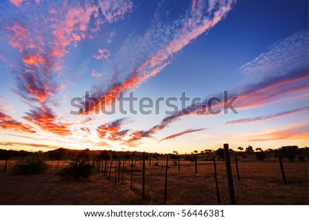 Timelapsed African sunset with cloud formations taken in Kgalagadi - stock photo