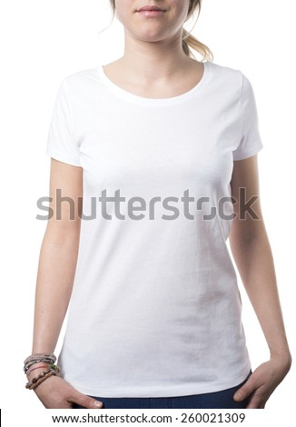 timeless plain white girls tshirt isolated on white with clipping path both for background and garment - stock photo