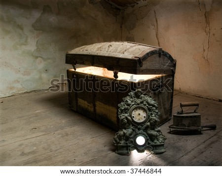 Timeless view of  the curiosity which lies at the bottom of the box. - stock photo