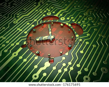 Timeline concept: circuit board with Alarm Clock icon, 3d render - stock photo
