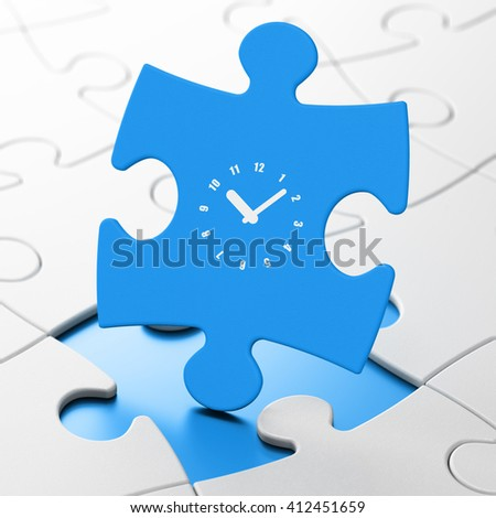 Timeline concept: Clock on Blue puzzle pieces background, 3D rendering - stock photo