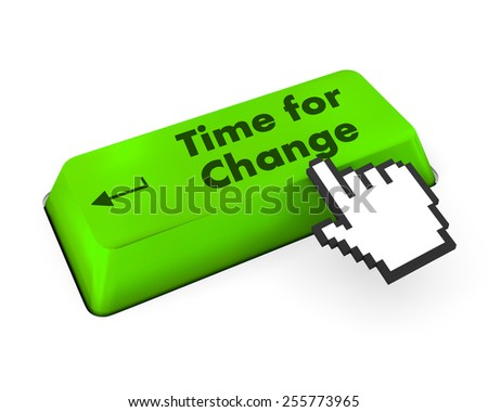 Timeline concept: computer keyboard with Clock icon and word Time for Change on enter button background, 3d render - stock photo