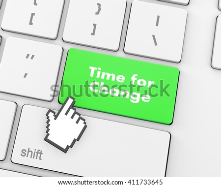 Timeline concept: computer keyboard with Clock icon and word Time for Change on enter button background, 3d rendering - stock photo
