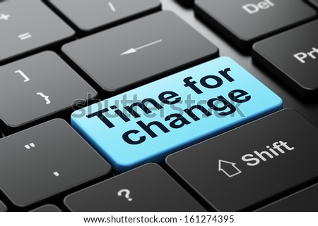Timeline concept: computer keyboard with word Time for Change, selected focus on enter button background, 3d render - stock photo