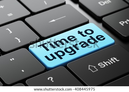 Timeline concept: computer keyboard with word Time To Upgrade, selected focus on enter button background, 3D rendering - stock photo