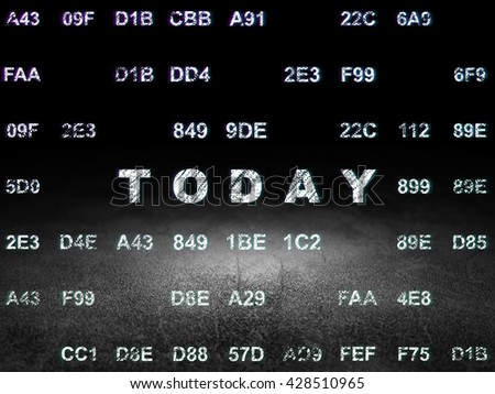 Timeline concept: Glowing text Today in grunge dark room with Dirty Floor, black background with Hexadecimal Code - stock photo