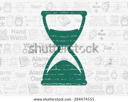 Timeline concept: Painted green Hourglass icon on White Brick wall background with  Hand Drawing Time Icons, 3d render - stock photo