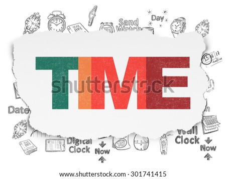 Timeline concept: Painted multicolor text Time on Torn Paper background with  Hand Drawing Time Icons, 3d render - stock photo