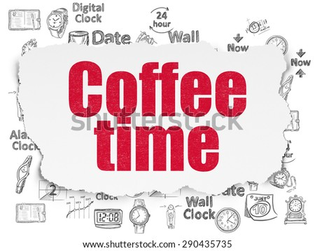 Timeline concept: Painted red text Coffee Time on Torn Paper background with  Hand Drawing Time Icons, 3d render