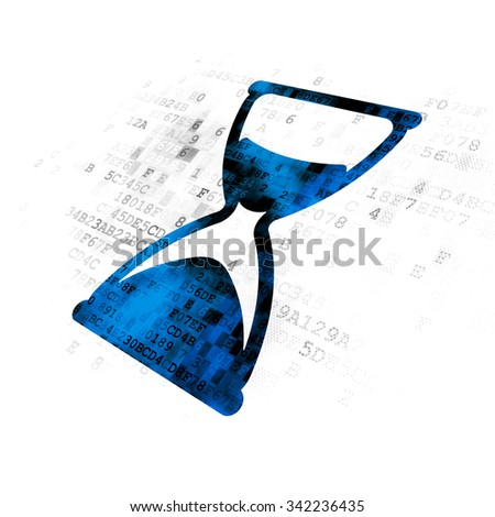 Timeline concept: Pixelated blue Hourglass icon on Digital background - stock photo