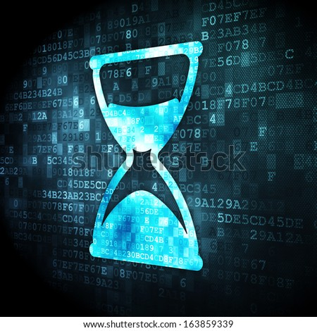 Timeline concept: pixelated Hourglass icon on digital background, 3d render - stock photo