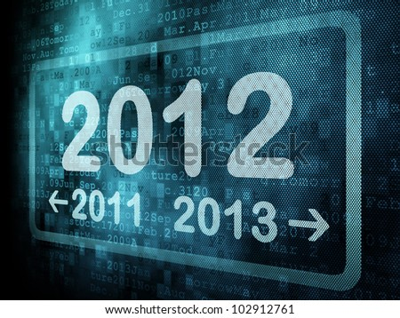 Timeline concept: pixeled word 2011 2012 2013 on digital screen, 3d render - stock photo