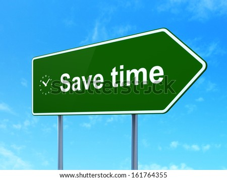 Timeline concept: Save Time and Clock icon on green road (highway) sign, clear blue sky background, 3d render - stock photo