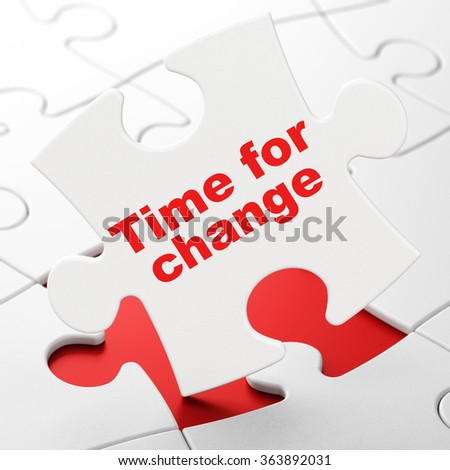 Timeline concept: Time for Change on puzzle background - stock photo