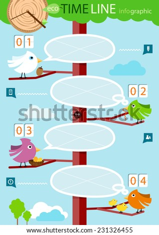 Timeline infographic, four step. The conceptual branch - bird with speech bubble. Raster version - stock photo