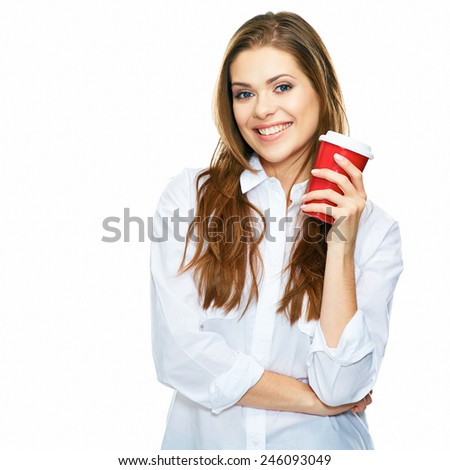 timeout with coffee break. business woman free time portrait isolated on white background. - stock photo