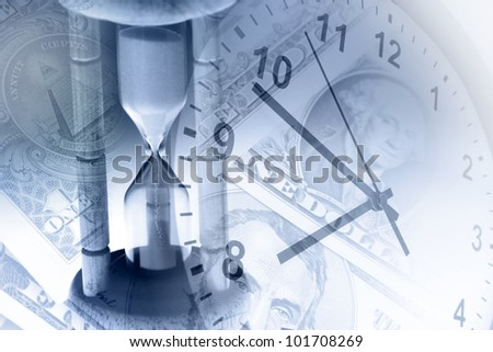 Timer, clock and cash. Time is money concept - stock photo