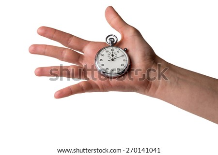 timer on an open hand - stock photo