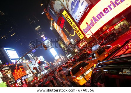 Times Square in New York City. - stock photo